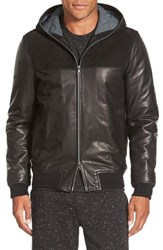 Men's Vince Hooded Leather And Suede Bomber Jacket