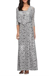Alex Evenings Petite Women's Sequin Embroidered Mesh A Line Gown And Jacket Black White