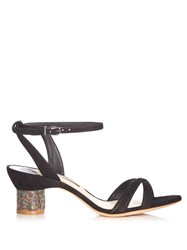 Sophia Webster Belle Crystal Embellished Suede Sandals Black Gold