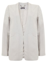 Mint Velvet Collarless Boyfriend Blazer White Chalk