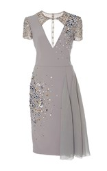 Georges Hobeika Cut Out Cocktail Dress Light Grey