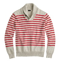 J.Crew Textured Cotton Shawl Collar Sweater In Stripe Racing Red
