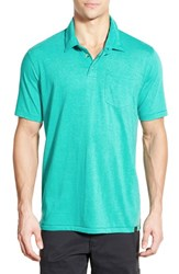 Men's Prana 'Marco' Organic Cotton Blend Polo Tidal Teal Heather