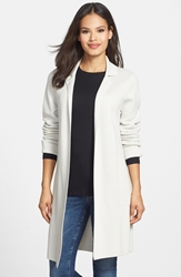 Eileen Fisher Long Silk And Cotton Knit Jacket Regular And Petite Bone