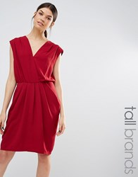 Y.A.S Tall Amber Wrap Front Drape Detail Dress Red