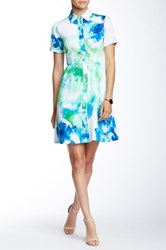 Donna Ricco Short Sleeve Collared Floral Print Dress Petite White