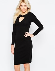 Daisy Street Dress With Cut Out Neckline And Long Sleeves Black