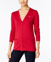 Lacoste V Neck Cardigan Bordeaux Chine