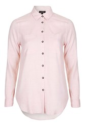 Topshop Herring Chambray Shirt Pink
