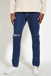 Forever 21 Slim Fit Distressed Jeans Indigo