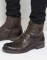 Jack And Jones Siti Warm Leather Boots Brown