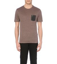 The Kooples Crocodile Printed Leather Pocket Linen T Shirt Beige Kaki