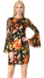 Haney Alisa Long Sleeve Dress Black Red Gold Print
