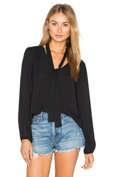 Eight Sixty Long Sleeve V Neck Blouse Black