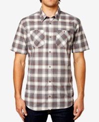 Fox Men's Short Sleeve Plaid Print Shirt Light Grey