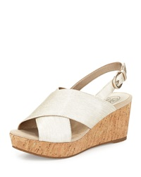 Circa Joan And David Wandy Metallic Wedge Sandal Off White