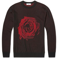 Ami Alexandre Mattiussi Ami Rose Crew Knit Black And Red
