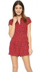 Free People Debby Dot Romper Red Combo