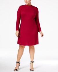 Love Squared Trendy Plus Size Mock Neck Sweater Dress Wine