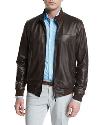 Isaia Reversible Leather Plaid Zip Up Bomber Jacket Brown Men's