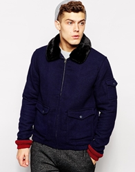Native Youth Sherpa Collar Flight Jacket Navy