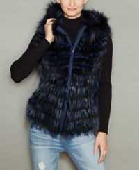 The Fur Vault Fox Hooded Vest Navy