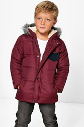Boohoo Padded Faux Fur Hooded Coat Berry