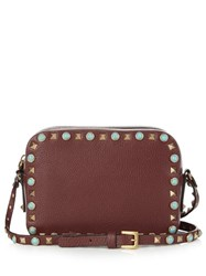 Valentino Rockstud Rolling Leather Camera Cross Body Bag Burgundy