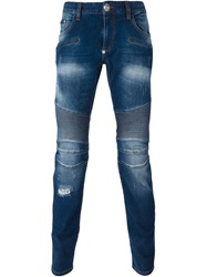 Philipp Plein 'No Reason' Slim Fit Jeans Blue