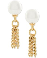 Bcbgeneration Gold Tone Imitation Pearl And Tassel Drop Earrings
