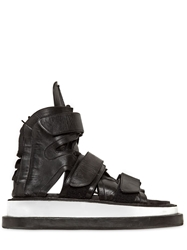 Ktz Gladiator Leather Sandals Black White