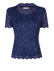 Jacques Vert Navy Sequin Lace Top Midnight Blue