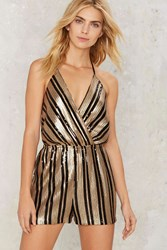 Cheers Striped Sequin Romper Gold