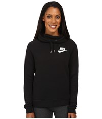 Nike Rally Pullover Hoodie Black Black Antique Silver White Women's Sweatshirt