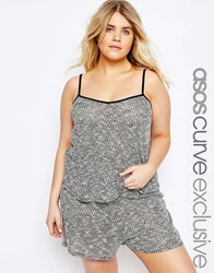 Asos Curve Lounge Cami Top In Textured Fabric Grey