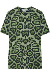 Givenchy T Shirt In Green Leopard Print Cotton Jersey