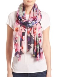Bindya Fall Floral 1 Cashmere And Silk Scarf Pink Multi