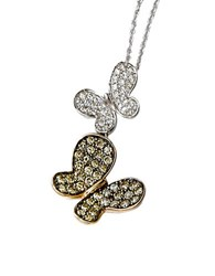 Le Vian 14K Two Tone Gold Chocolate And Vanilla Diamond Butterfly Pendant Necklace