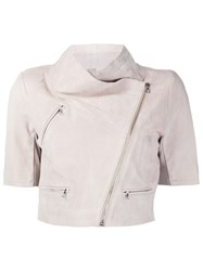 Yigal Azrouel Cropped Biker Leather Jacket Nude And Neutrals