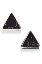 Junior Women's Leith Marbled Triangle Stud Earrings Black Silver