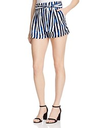 Aqua Paint Stripe Paper Bag Shorts Navy Ivory