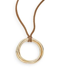 Rj Graziano Suede Ring Pendant Necklace Tan Gold