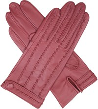 Dents Stitch Detail Leather Gloves Antique Rose