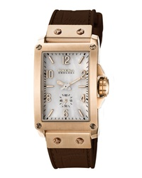 Brera 14K Gold Ionic Plated Rectangle Watch With Rubber Strap Brown