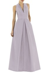 Women's Alfred Sung V Neck Dupioni Full Length A Line Dress