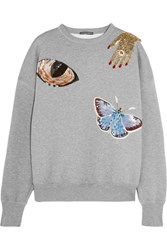 Alexander Mcqueen Embellished Cotton Sweatshirt Gray