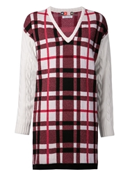 Msgm Plaid Knit Dress Pink And Purple