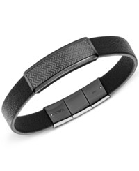 Armani Exchange Men's Gunmetal Steel Leather Bracelet Egs2253 Black