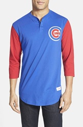 Mitchell Ness 'Chicago Cubs Clutch' Three Quarter Sleeve Henley Royal