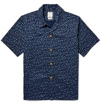 Visvim Kahuna Slim Fit Floral Print Cotton Shirt Storm Blue